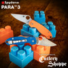 """SPYDERCO C223GPORBL PARA 3. 2.95"""" SATIN FINISH CPM REX45 BLADE. COMPRESSION LOCK. ORANGE AND BLUE G-10 HANDLE. LIMITED EDITION OF ONLY 600 PIECES. SPYDERCO BEAUTY SHOT. CUTLERY SHOPPE EXCLUSIVE"""
