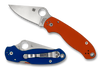 """SPYDERCO C223GPORBL PARA 3. 2.95"""" SATIN FINISH CPM REX45 BLADE. COMPRESSION LOCK. ORANGE AND BLUE G-10 HANDLE. LIMITED EDITION OF ONLY 600 PIECES. SPYDERCO DUO SHOT. CUTLERY SHOPPE EXCLUSIVE"""