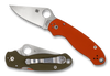 "SPYDERCO C223GPOROD PARA 3. 2.95"" SATIN FINISH CPM REX45 BLADE. COMPRESSION LOCK. ORANGE AND OD GREEN G-10 HANDLE. LIMITED EDITION OF ONLY 600 PIECES. CUTLERY SHOPPE EXCLUSIVE"