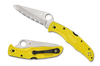 "Spyderco C91SYL2 Pacific Salt 8 - 3.78"" Satin Finish Serrated Edge H-1 Blade - Yellow FRN Handle"