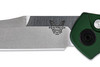 "Benchmade 9400 Osborne AUTOMATIC - 3.4"" Plain Edge Satin Finish CPM-S30V Blade - Green Anodized 6061-T6 Aluminum Handle"