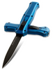 """BENCHMADE 3300BK-2001 INFIDEL OTF AUTOMATIC. 3.91"""" DOUBLE EDGE BLACK DLC FINISH CPM-S30V BLADE. BLUE ANODIZED 6061-T6 ALUMINUM HANDLE. LIMITED EDITION. CUTLERY SHOPPE"""