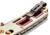 "BENCHMADE 486-201 SAIBU NAKAMURA DESIGN AXIS FOLDER. 2.98"" PLAIN EDGE DAMASTEEL BLADE. IVORY G-10 HANDLE W/CRIMSON G-10 INLAY. CLIP DETAIL SHOWN. GOLD CLASS"