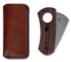 BENCHMADE 1500 CIGAR CUTTER. CPM-S30V CHISEL GROUND/GUILLOTINE BLADE. MULTI-LAYER RICHLITE HANDLE. LEATHER CARRY POUCH SHOWN. CUTLERY SHOPPE