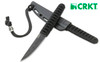 "CRKT 2367 Obake - 3.64"" Titanium Nitride Finish Plain Edge Blade - Black Molded Glass Filled Nylon Sheath - CUTLERY SHOPPE"