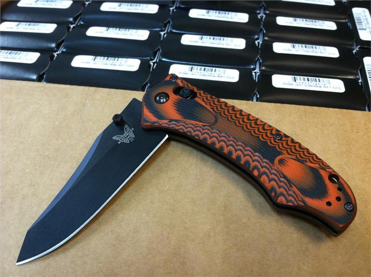 Benchmade 950BK-1401 Osborne AXIS Rift - Layered Black/Orange Textured G-10  Scales - CPM-S30V Plain Edge Blade BK1 Black - CUTLERY SHOPPE EXCLUSIVE -