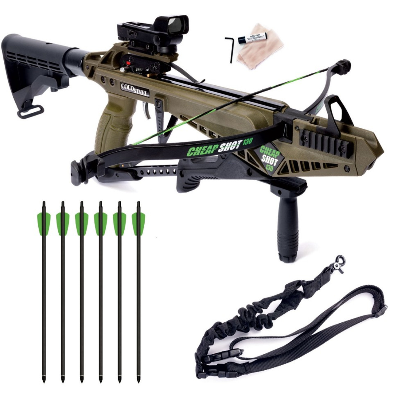 Cold Steel CS13 Cheap Shot 130 Crossbow - 130lb Draw Weight - Includes 6  Carbon Bolts & Accessories