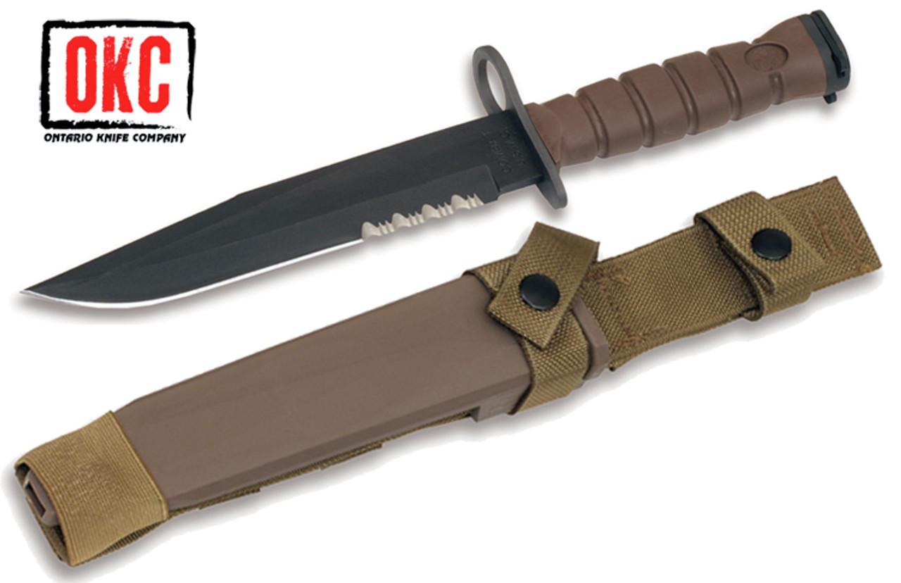 "Ontario 6504 - OKC3S Marine Bayonet - 8.0"" Combo Edge Blade"