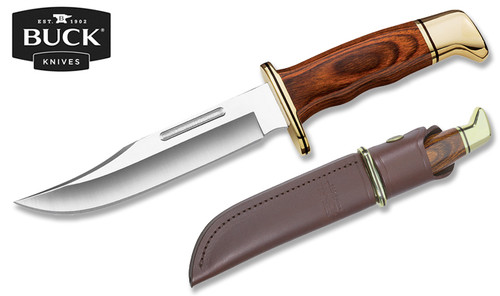 """BUCK KNIVES 0119BRS SPECIAL FIXED BLADE KNIFE.  6.0"""" PLAIN EDGE 420HC BLADE.  COCOBOLA DYMALUX® HANDLE. BROWN LEATHER SHEATH. CUTLERY SHOPPE"""