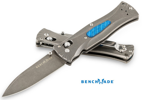BENCHMADE 531-132 PARDUE AXIS GOLD CLASS. ACID ETCHED & STONEWASH FINISH M390 BLADE. TITANIUM HANDLES W/BLUE TWILL ONLAYS. 125 PIECE LIMITED EDITION. CUTLERY SHOPPE