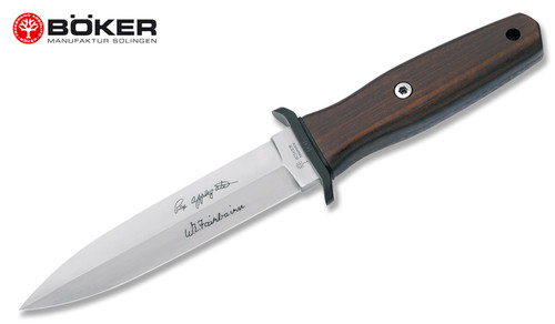 "BOKER 120543W APPLEGATE PREMIUM COMBAT KNIFE. 5.875"" DOUBLE EDGE 440C BLADE.  GRENADILL WOOD HANDLE. BLACK LEATHER SHEATH. CUTLERY SHOPPE"
