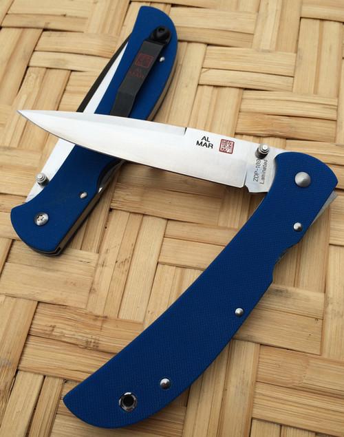 """Al Mar 5HDBLT-ZL Eagle HD """"Heavy Duty"""" - Blue G-10 Scales - Plain Edge Talon Blade, CUTLERY SHOPPE EXCLUSIVE, cutleryshoppe.com"""