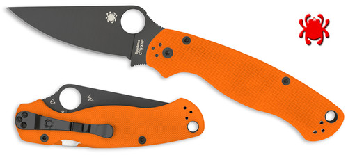 SPYDERCO C81GPORBK2 PARA MILITARY 2. FFG CTS-XHP DLC COATED BLADE. ORANGE G-10 HANDLE. CUTLERY SHOPPE EXCLUSIVE