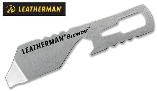 "Leatherman 831678 Brewzer - 2.4"" Stainless Steel Tool - Bottle Opener and Mini Pry Tool - Fits on Keyring"