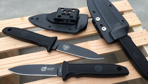 "Gryphon M10FFG Utility/Boot Knife - 4.0"" FFG Laminated VG-10 Blade w/DLC Finish - Black Boltaron SheathPro Sheath"