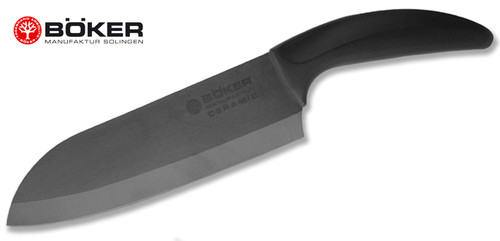 "Boker 130C4S 7.125"" Santoku – 7.125"" Plain Edge Black Ceramic Blade – Delrin Handle - CUTLERY SHOPPE"