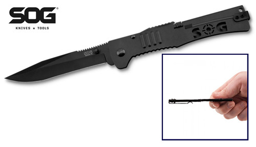 """SOG Knives SJ52 SlimJim XL Assisted Opening - 4.18"""" Black TiNi Finish Plain Edge Blade - Black Stainless Steel Handle - CUTLERY SHOPPE"""