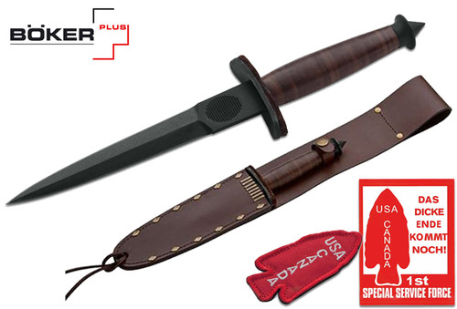 "Boker Plus 02BO1942 V-42 Devil's Brigade – 7"" Black Finish Plain Edge Blade – Leather Handle – Leather Belt Sheath - CUTLERY SHOPPE"