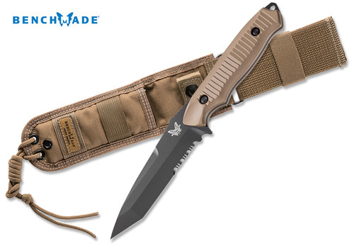 "Benchmade 141SBKSN Nimravus Tanto - 4.5"" BK1 Black Finish 154CM Combo Edge Blade - Coyote Color Handle - CUTLERY SHOPPE"