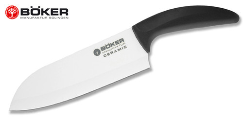 "Boker 130OC4 7.125"" Santoku – 7.125"" Plain Edge Ceramic Blade – Delrin Handle - CUTLERY SHOPPE"