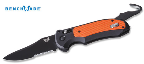 Benchmade 9170SBK-ORG Auto Triage - AXIS AUTOMATIC w/Auto Opening Safety Cutter - Blk Aluminum Handle w/Orange G-10 Inlay - BK1 Coated Combo Edge