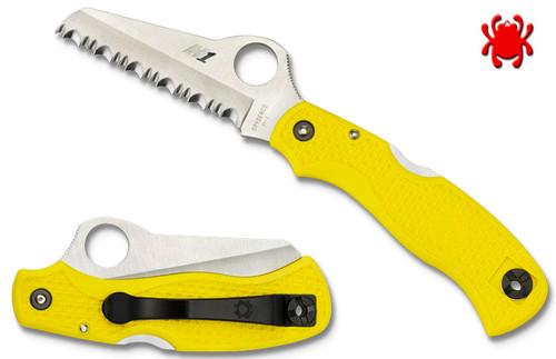C118YL, C118SYL, SAVER SALT, H-1 BLADE STEEL, YELLOW FRN HANDLE, RESCUE KNIFE, SPYDERCO, CUTLERY SHOPPE