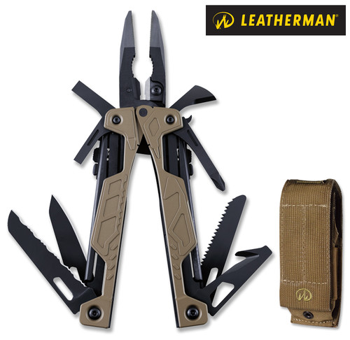 """Leatherman 831626 OHT - 4.5"""" Closed - 16 Tools - Spring Loaded Pliers/Wire Cutters - Black Oxide Finish - Brown Nylon Molle Sheath"""