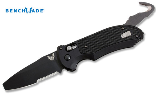 "Benchmade 9160SBK Auto-Triage – 3.35"" Black Finish Combo Edge Blade – Aluminum Handle w/G-10 Inlays - CUTLERY SHOPPE"