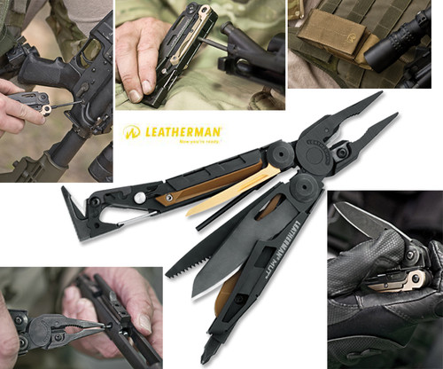 LEATHERMAN 850022 MUT (MILITARY UTILITY TOOL) MULTI-TOOL. 17 TOOLS IN ONE. BROWN MOLLE SHEATH INCLUDED. CUTLERY SHOPPE