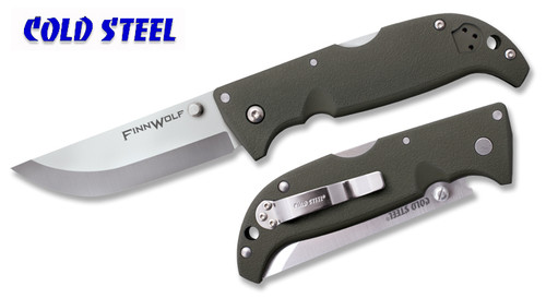 "Cold Steel 20NPFZ Finn Wolf – 3.5"" Satin Finish Plain Edge Blade – Griv-Ex Handle"
