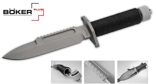 "BOKER PLUS APPARO SURVIVAL KNIFE. 7.0"" 440C BLADE W/SAWTEEH. CORD WRAPPED HOLLOW HANDLE. BLACK LEATHER BELT SHEATH. CUTLERY SHOPPE"