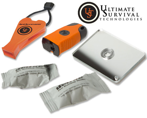 Ultimate Survival 90241 BASE Kit - Includes: Sparkie Fire Starter, WetFire Tinder, StarFlash Mirror, JetScream Whistle - DISCONTINUED ONLY 4 LEFT