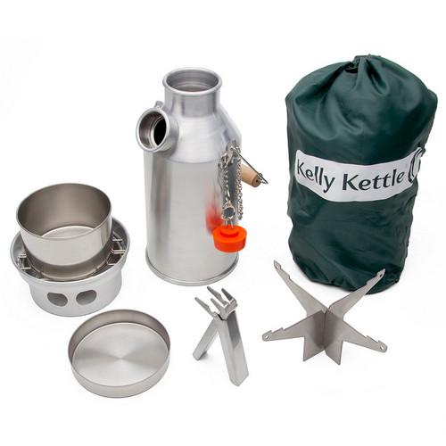 Kelly Kettle 50048 - Stainless Steel - Small Trekker .56L Kettle - Basic Kit - UPDATED VERSION - NO RIVETS