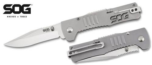 "SOG Knives SJ31 SlimJim Assisted Opening - 3.18"" Satin Finish Plain Edge Blade - Bead Blasted Stainless Steel Handle - CUTLERY SHOPPE"