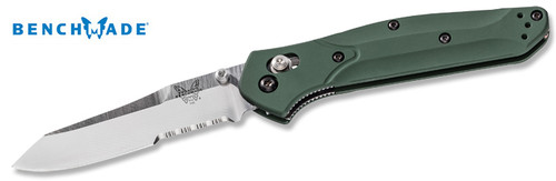 "BENCHMADE 940S OSBORNE AXIS. 3.4"" SATIN FINISH COMBO EDGE CPM-S30V REVERSE TANTO BLADE. GREEN ANODIZED 6061-T6 ALUMINUM HANDLE. CUTLERY SHOPPE"