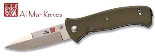 "AL MAR S2KOD SERE 2000 COMBAT FOLDER. 3.6"" VG-10 BLADE. OLIVE DRAB GREEN G-10 HANDLE. CUTLERY SHOPPE"
