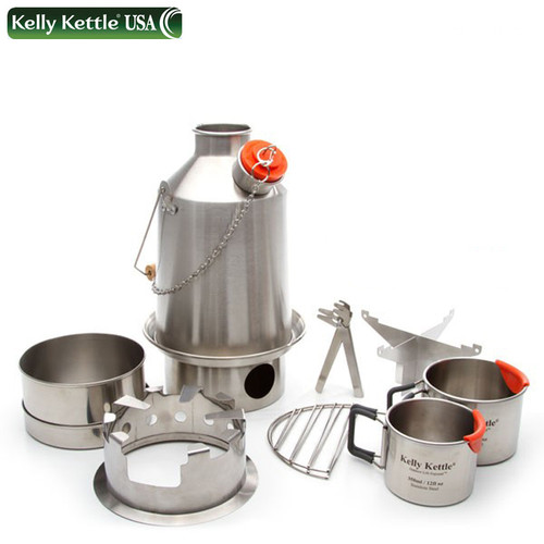 Kelly Kettle 50120 - Stainless – Medium Scout 1.1L Kettle - Complete Kit - UPDATED VERSION - NO RIVETS