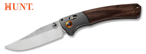 "BENCHMADE 15080-2 HUNT SERIES CROOKED RIVER AXIS FOLDER. 4.0"" CPM-S30V BLADE. STABILIZED WOOD HANDLE SCALES W/ANODIZED ALUMINUM BOLSTER. CUTLERY SHOPPE"