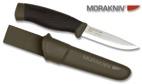 "Morakniv 12494 Companion ""Heavy Duty"" - 4.1"" Satin Finish Plain Edge UHB-20C Carbon Steel Blade - Black/Green TPE Handle - Green Polymer Sheath"