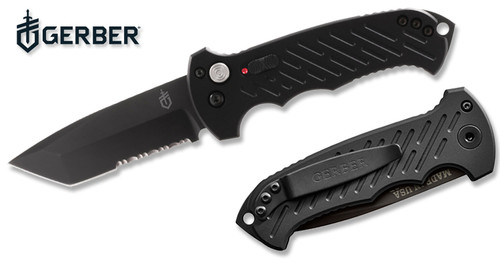 """GERBER 30-000850 06 AUTOMATIC 3.8"""" BLACK COMBO EDGE TANTO POINT CPM-S30V BLADE ANODIZED ALUMINUM HANDLE. CUTLERY SHOPPE"""