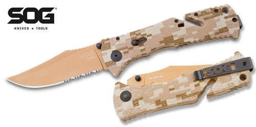 """SOG Knives TF5 Trident Assisted Opening - 3.75"""" Copper TiNi Finish 50/50 Edge Blade - Desert Digital Camo Handle - CUTLERY SHOPPE"""