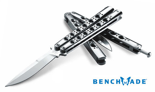 "BENCHMADE MODEL 42 BALI-SONG BUTTERFLY KNIFE. 4.2"" WEEHAWK STYLE 154CM BLADE. SKELETONIZED TITANIUM HANDLES. CUTLERY SHOPPE"