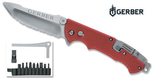"""Gerber Hinderer Folding Rescue Knife - Red Nylon Handle Scales - 3.5"""" Serrated Blunt Tip Blade - CUTLERY SHOPPE"""