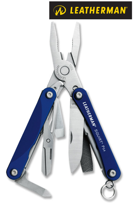 """Leatherman 831192 Squirt PS4 - 2.25"""" Closed - 9 Tools - Blue Hard Anodized Aluminum Handle"""