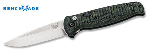 "BENCHMADE 4300-1 CLA AUTOMATIC. 3.4"" PLAIN EDGE SATIN FINISH 154CM BLADE. GREEN/BLACK G-10 HANDLE. CUTLERY SHOPPE"