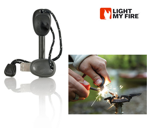 Light My Fire Swedish FireSteel 2.0 ARMY - 12,000 Strikes at 5400 degrees F - Built-In Emergency Whistle - Black