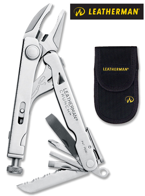 "Leatherman 68010201K Crunch - 4"" Closed - 15 Tools - Locking Pliers Clamps Up To 1"" Diameter Pipe - Black Nylon Sheath"