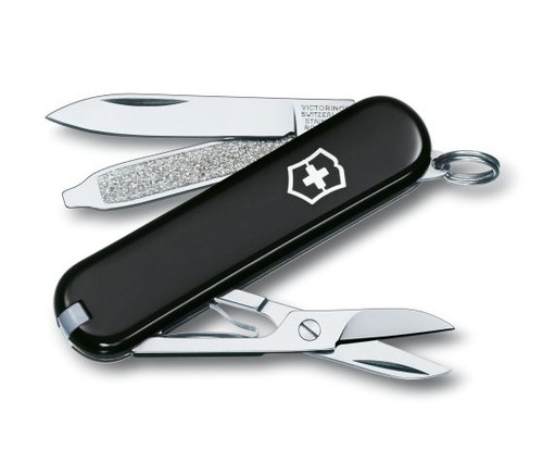 VICTORINOX SWISS ARMY CLASSIC, BLACK HANDLE, 53003, CUTLERY SHOPPE