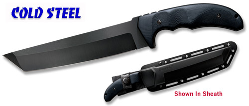 "COLD STEEL 13TL WARCRAFT TANTO. 7.5"" PLAIN EDGE CPM 3-V HIGH CARBON BLADE WITH DLC COATING. 3D MACHINED G-10 HANDLE. SECURE-EX SHEATH. CUTLERY SHOPPE"