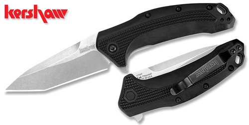 KERSHAW KNIVES 1776T LINK SPEEDSAFE ASSISTED FLIPPER. TANTO SHAPE STONEWASH FINISH 420HC BLADE. BLACK GLASS FILLED NYLON HANDLE. CUTLERY SHOPPE